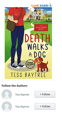 "Screenshot of Amazon page for Death Walks a Dog, with a ""Follow the Authors"" section below having two different buttons, both for ""Tess Baytree"""