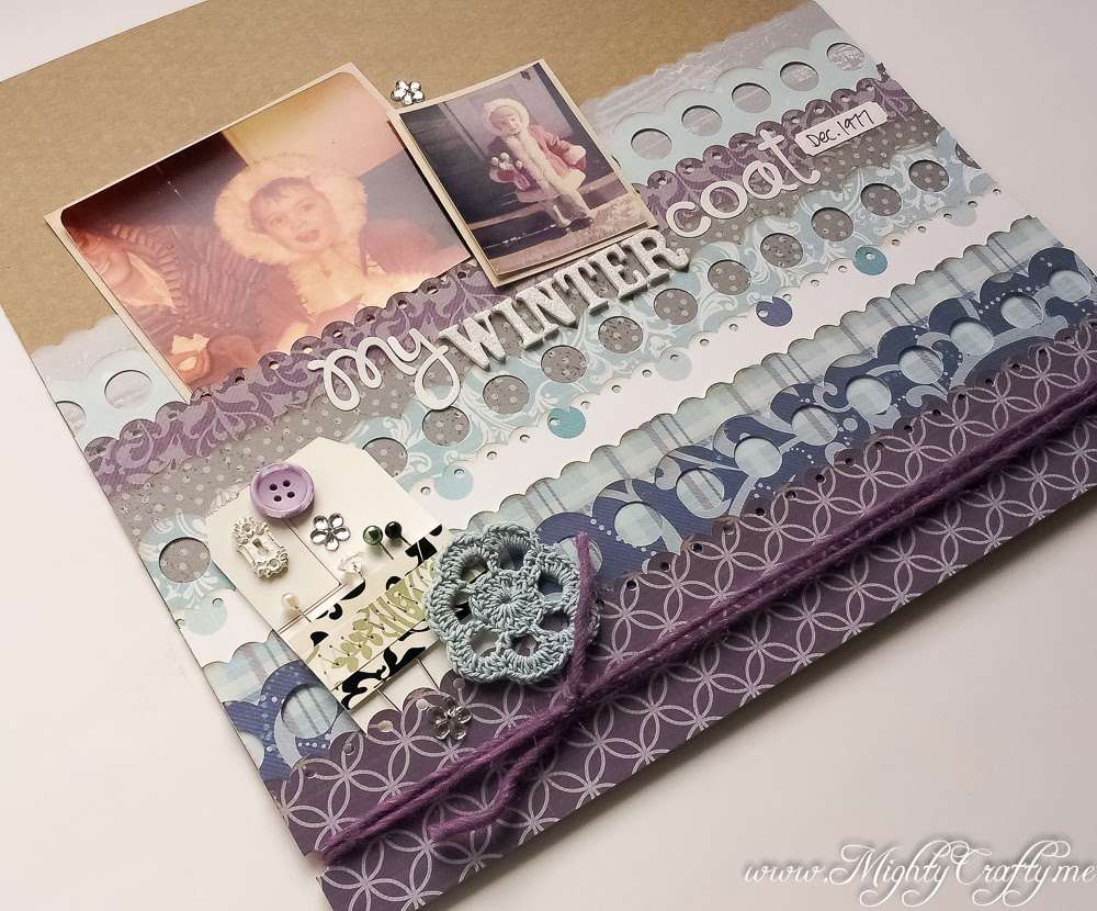 Vintage winter layout from a Scrapping with Christine sketch -- www.MightyCrafty.me