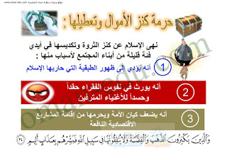 تنظيم المال في الإسلام للصف الثامن