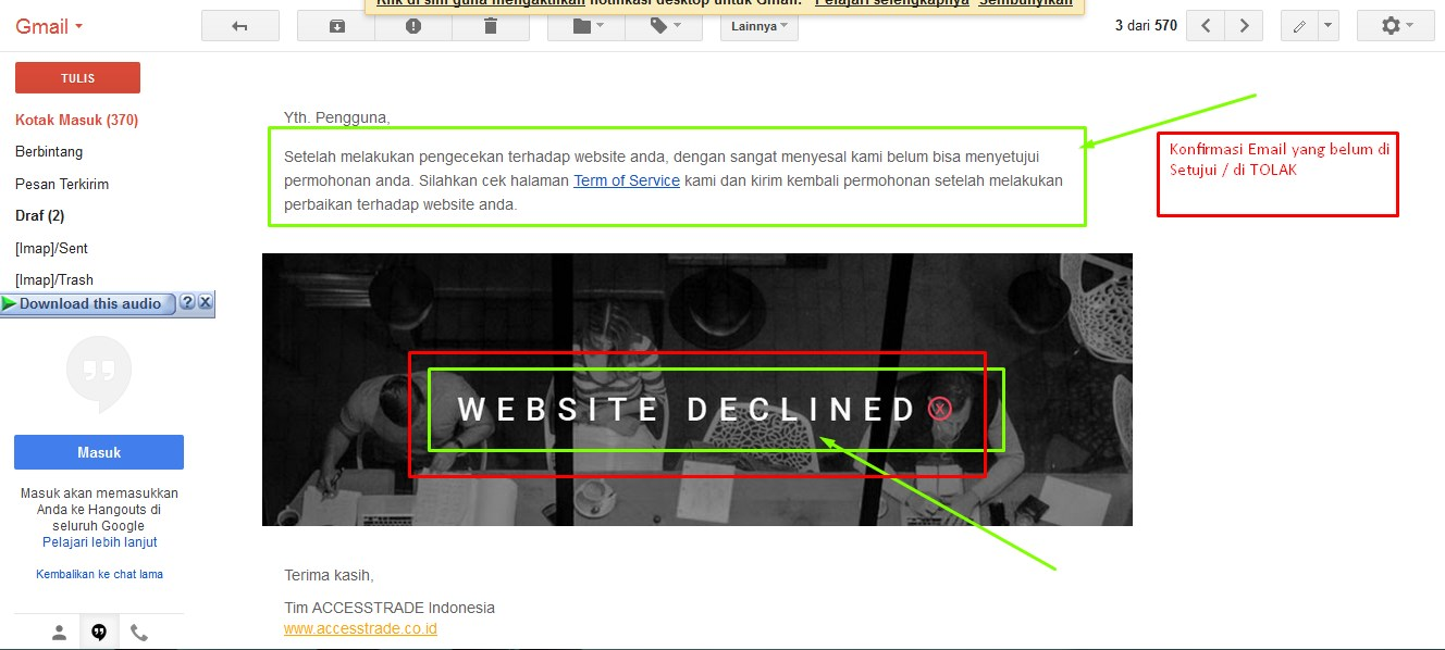 WEBSITE DECLAINED ACCESTRADE INDONESIA