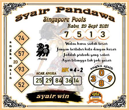 Syair Pandawa SGP Rabu 29-09-2021