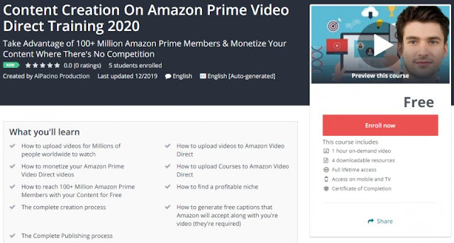 [100% Free] Content Creation On Amazon Prime Video Direct Training 2020