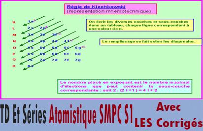 TD Et Séries Atomistique SMPC S1 + Corrigés