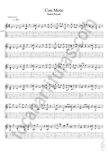 Con Moto Partitura de Guitarra con Tablaturas en Números y dedos de Daniel Purcell Easy Tablature Sheet Music with fingerings for Guitar Beginners