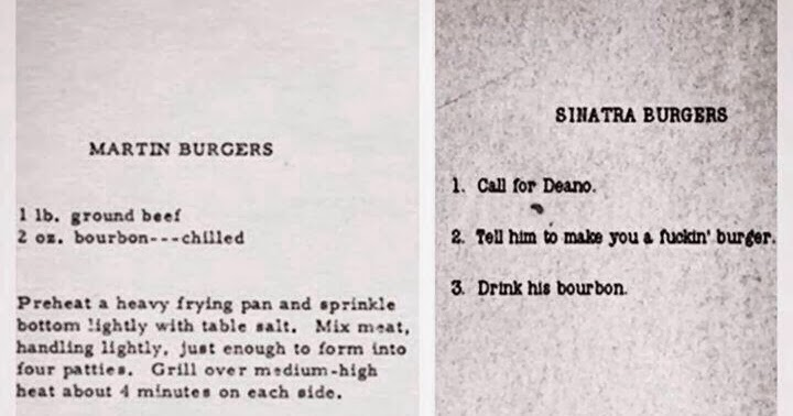 Blueiskewl Dean Martin S Burger Recipe Vs Frank Sinatra S Burger Recipe