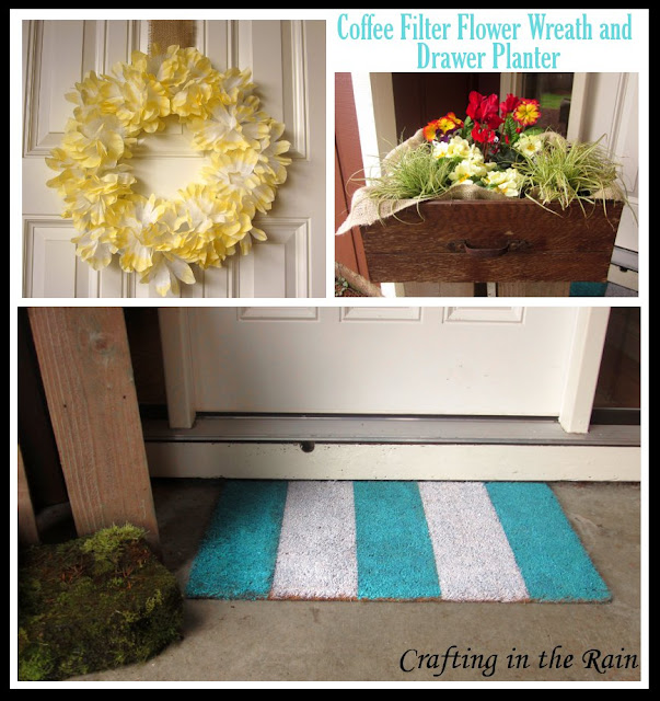 Spring wreath and drawer planter || www.craftingintherain.com
