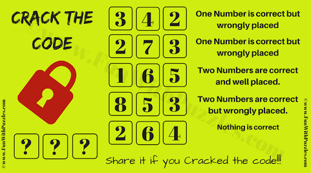 In this Crack the Code Puzzle, your challenge is to find the 3 digit code which will open the lock.
