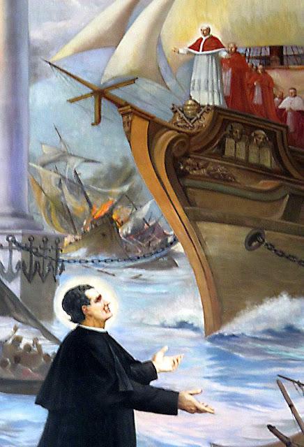 São João Bosco e o sonho da nau de Pedro. Basílica de Maria Auxiliadora, Turim