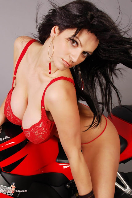 Denise-Milani-Bike-Photoshoot-in-red-hot-bikini-picture-14