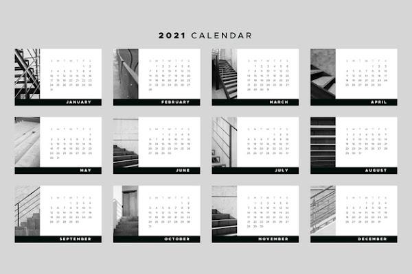 Calendario 2021 por meses de bolsillo negro