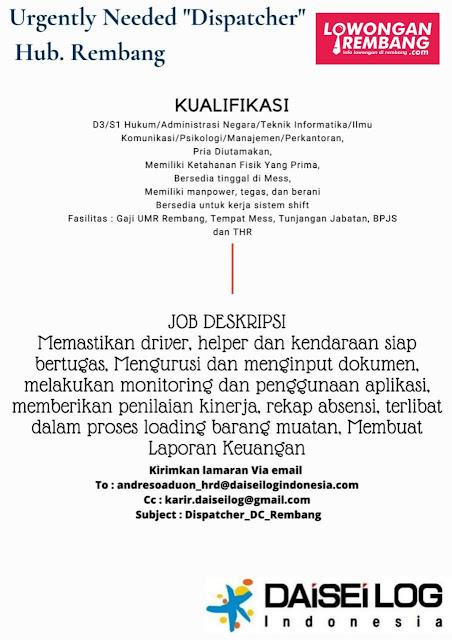 Lowongan Kerja Dispatcher PT Daisei Log Indonesia Penempatan Rembang