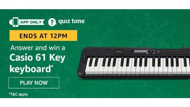 Amazon Quiz Answers For Today 1st May 2020 - Win Casio 61 key Keyboard