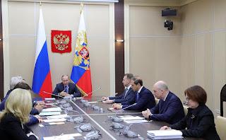 Vladimir Putin, Elvira Nabiullina, Antov Siluanov, Andrei Belousov, Maxim Oreshkin.
