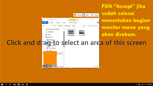 Memilih bagian monitor mana saja yang akan direkam dengan ScreenToGif