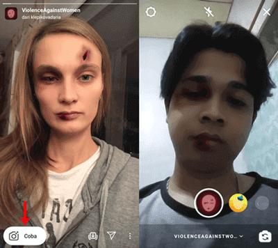 Cara Menggunakan Filter Wajah Lebam di Instagram Stories