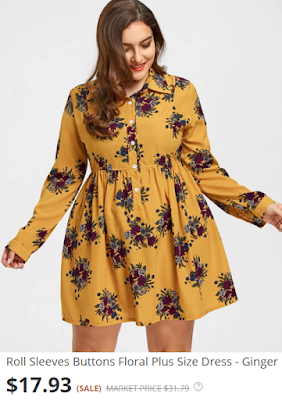 Roll Sleeves Buttons Floral Plus Size Dress - Ginger