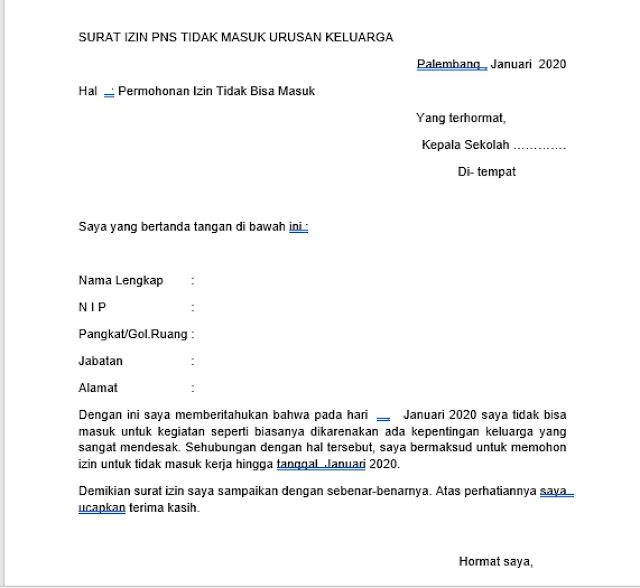 Contoh Surat Izin Kerja PNS (via: karyatulisilmiah.com)