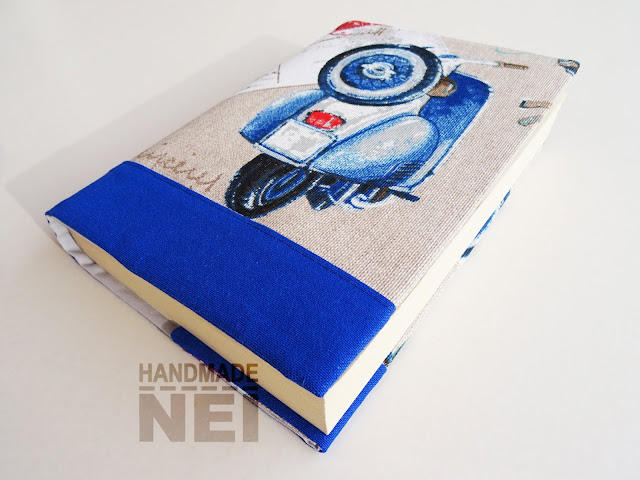 """Handmade Nel: Калъф за книга от плат """"Синя Веспа"""""""