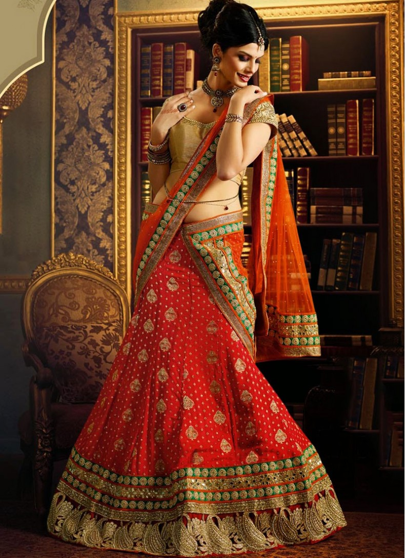 Georgette Red Lehenga With Orange Net Dupatta For Wedding