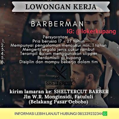Lowongan Kerja Sheltercut Barber Sebagai Barberman/Tukang Cukur