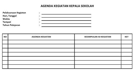 DOWNLOAD AGENDA KEPALA SEKOLAH LENGKAP JENJANG SD, SMP, SMA/SMK TERBARU