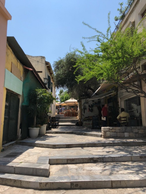 Plaka neighborhood alley Athens Greece