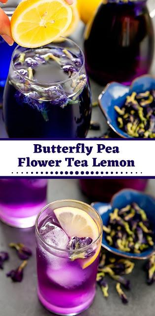 Butterfly Pea Flower Tea Lemon #drinks #desserts