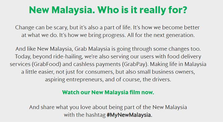 Video MyNewMalaysia Iklan Grab Malaysia