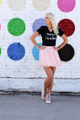 Friday Apparel, graphic tee, message tee, graphic shirt, t shirt, tulle skirt, tulle, bunny sneakers, minna parikka, how to style a tulle skirt