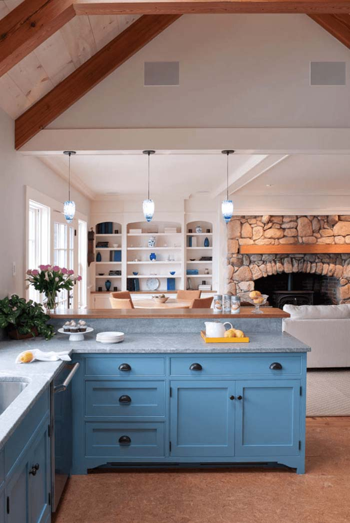 mavi rustik mutfak dolabı modelleri
