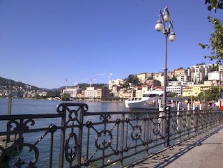 The waterfront at Lugano, which is just a few kilometres from Menotti's birthplace