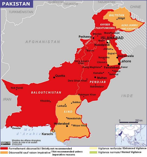 "Pakistan, ""recommandations"" du MAE français, mai 2018"