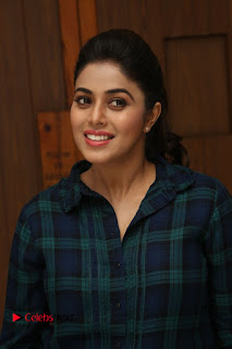 Actress Poorna Stills in Denim Jeans at Jayammu Nischayammu Raa Movie Interview 0019
