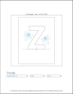 Quilling Letter Z - Dragonfly Template