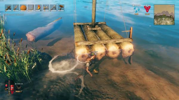 Valheim1 イカダ(船)のハシゴの位置の画像