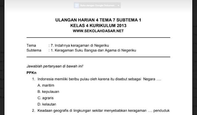 Soal Ulangan Harian K13 Kelas 4 Tema 7 Subtema 1