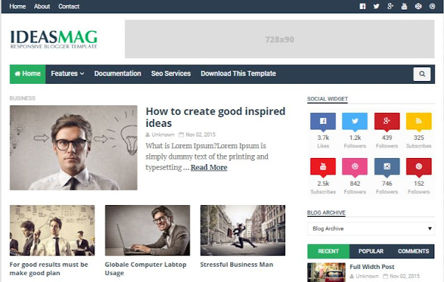 Ideas Mag Premium Blogger Templates Download Free