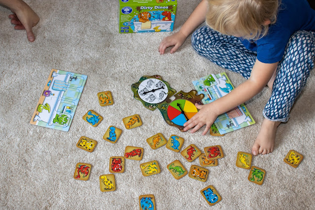 Dirty Dinos from Orchard Toys has 2 spinners and you have to find the matching dirty dinosaur card to put in your bath