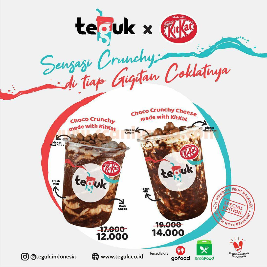 Promo Teguk X Kitkat Special Price mulai Rp 12.000 pesan antar via GOFOOD /GRABFOOD