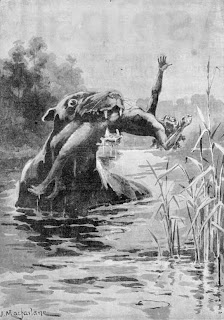 19th-century depiction of the bunyip of Aboriginal legend (Australian Illustrated News, 1 October 1890)