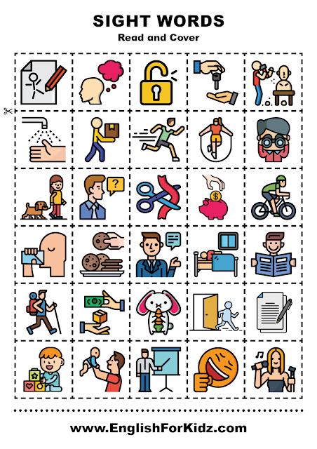 Sight words activity for kindergarten - verbs