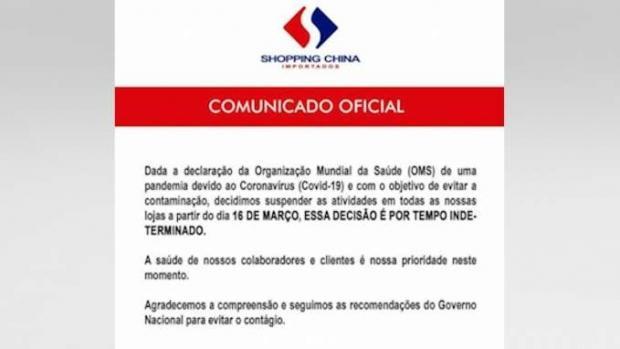 Shopping China fecha lojas no Paraguai por tempo indeterminado