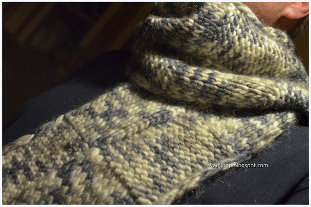 szalik męski na drutach