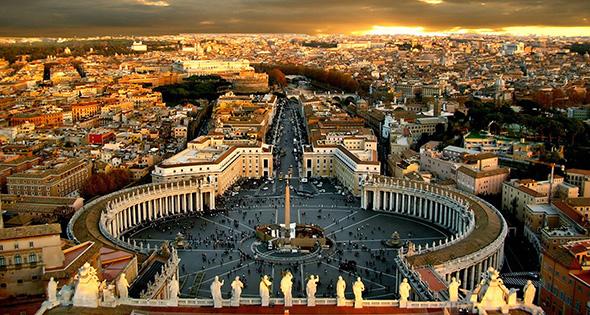 Vista aérea de la cuidad del vaticano