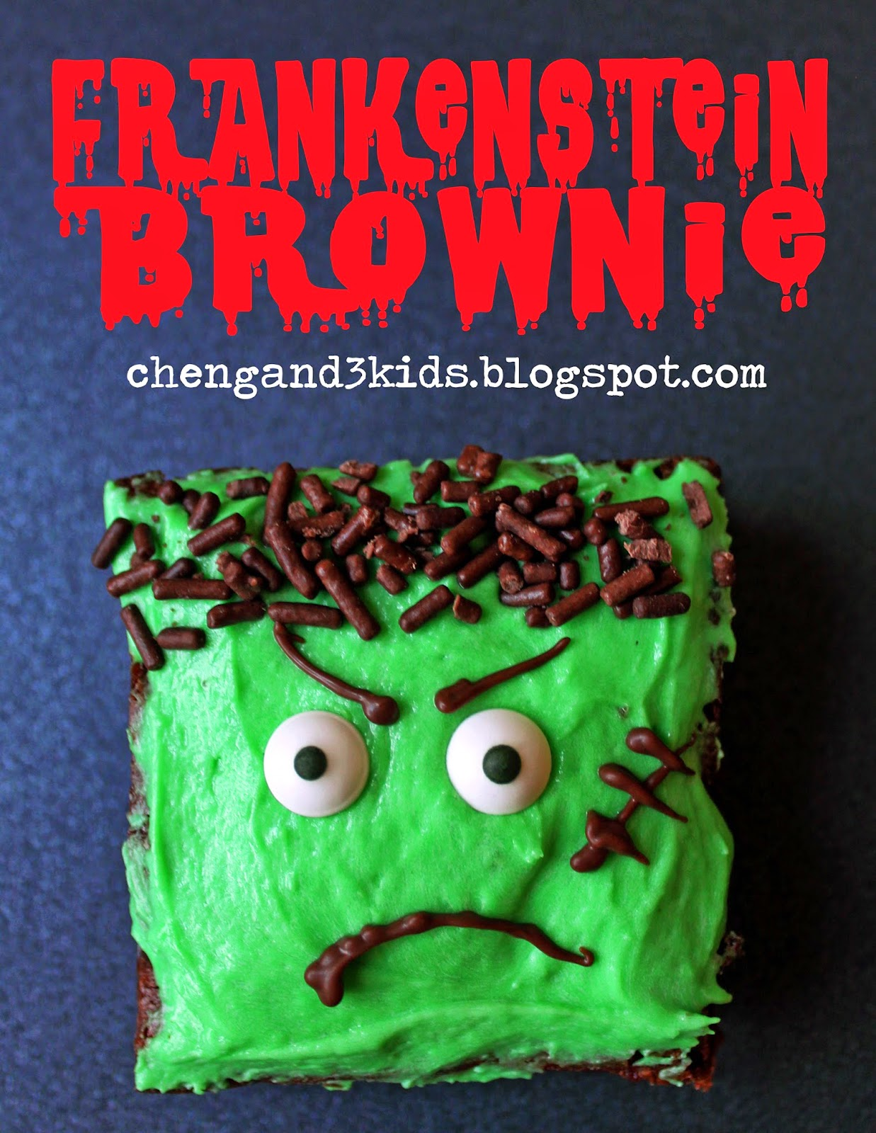 Frankenstein Brownie for Halloween by chengand3kids.blogspot.com