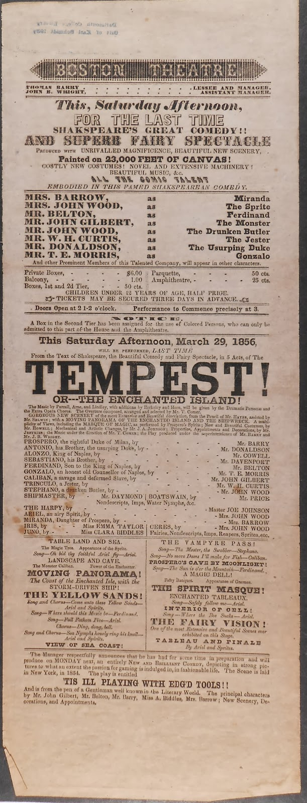 "Playbill for ""The Tempest! Or -- The Enchanted Island!"""