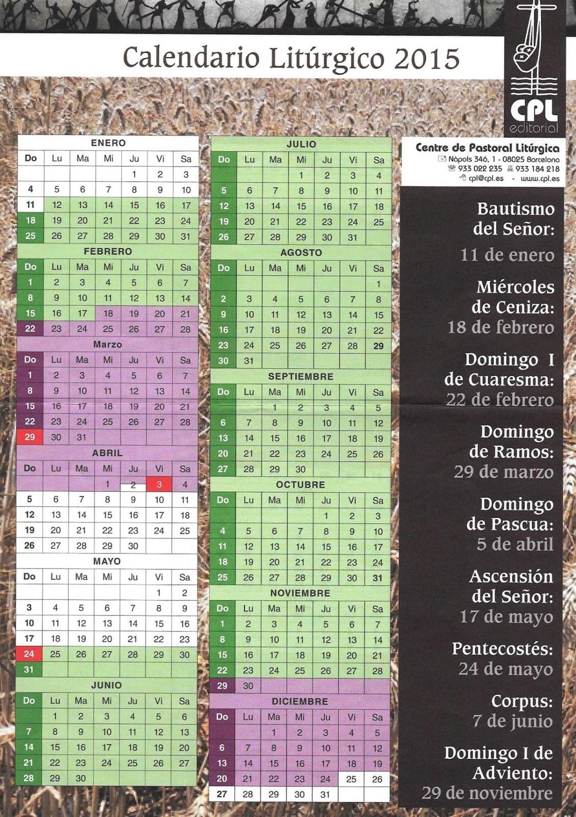 Calendario Liturgico Catolico 2019