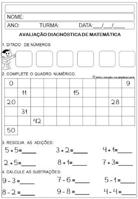 2º ano, Avaliação diagnóstica, Ensino fundamental, sistema de escrita alfabética, Sistema de numeração, produção de texto,