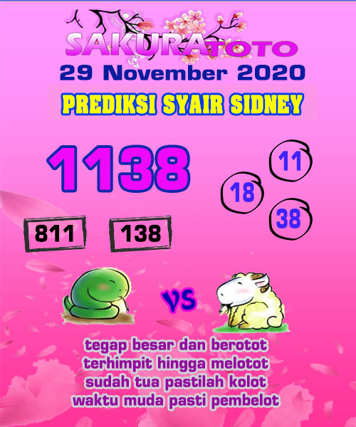 Syair Sakuratoto Sidney Minggu 29 November 2020