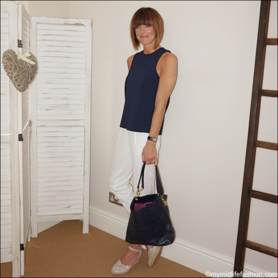 my midlife fashion, carl scarpa Brittany beige metallic sandals, Sarah Harlan hazel hobo bag, marks and Spencer tapered leg drawstring trousers, tibi sleeveless tank top